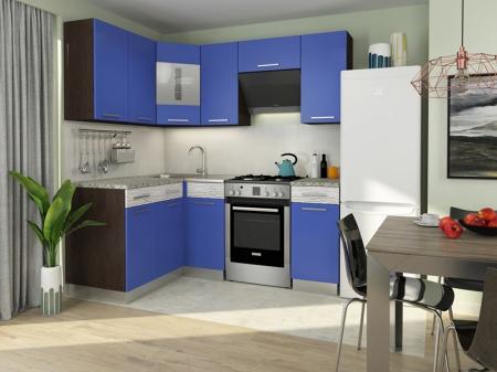 Кухонный гарнитур Алиса-11 угловая Венге/Синий