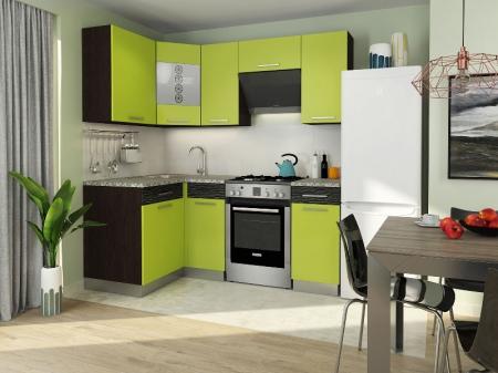 Кухонный гарнитур Алиса-9 угловая Венге/Лайм