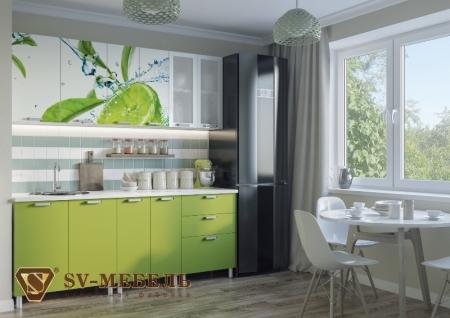 Кухонный гарнитур Лайм глянец с фотопечатью