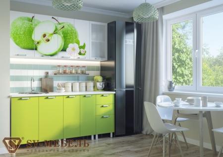 Кухонный гарнитур Яблоки с фотопечатью без глянца
