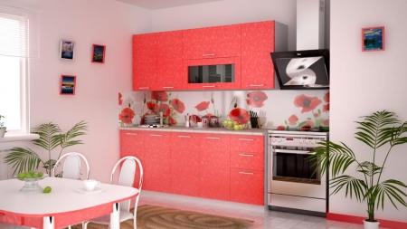 Кухонный гарнитур Магнолия 1,8 м коралл
