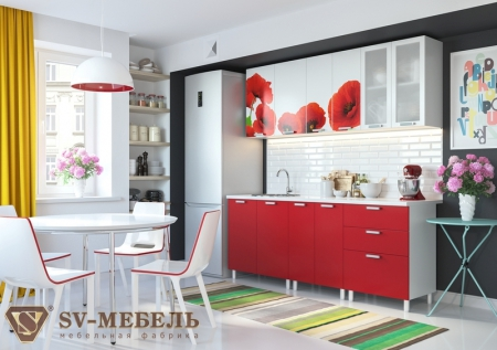 Кухонный гарнитур Маки с фотопечатью без глянца